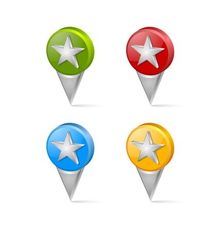favourite: Set of 3d favourite map mark pointers isolated on white background