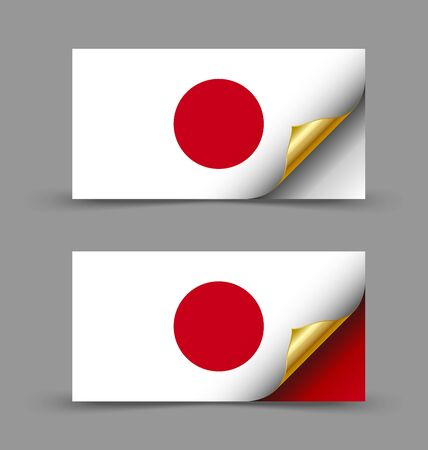 asiatic: Japanese flag with golden curled corner on grey background