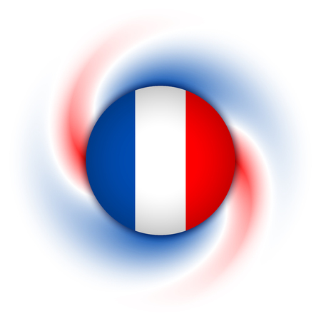 french: French badge on twisted blue, white and red background Illustration
