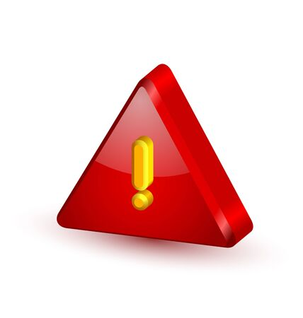 security symbol: Big red and glossy security alert triangle symbol with yellow exclamation mark on white background Illustration