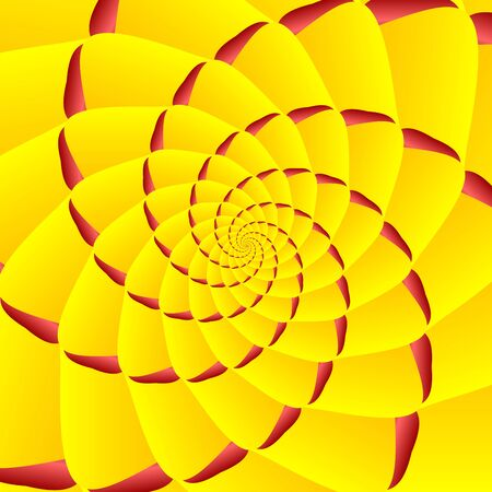 Yellow and red twisted and ribbed abstract spiral object with background