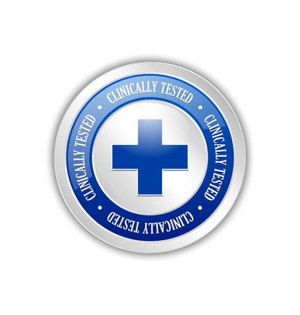 health care and medicine: Silver clinically tested symbol with cross on white background