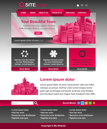 customizable: Easy customizable magenta and dark grey website template layout