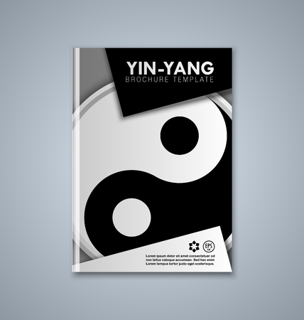 karma design: Yin and Yang brochure or book cover template on grey background