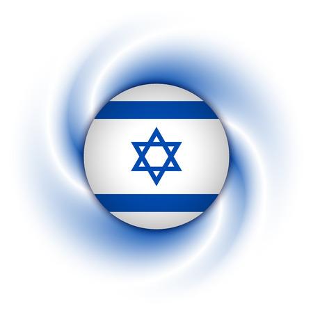 yiddish: Israeli flag badge on twisted blue and white background Illustration