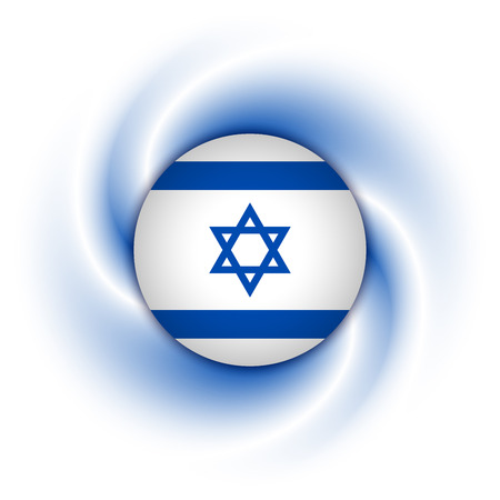 israeli flag: Israeli flag badge on twisted blue and white background Illustration
