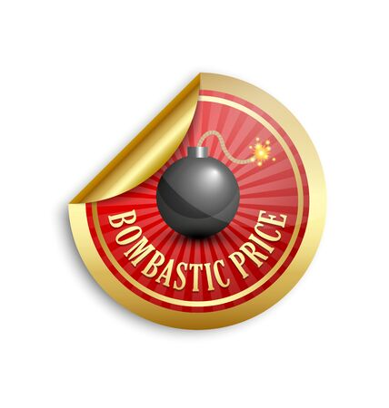 bomb price: Golden bombastic price sticker for custom design purposes
