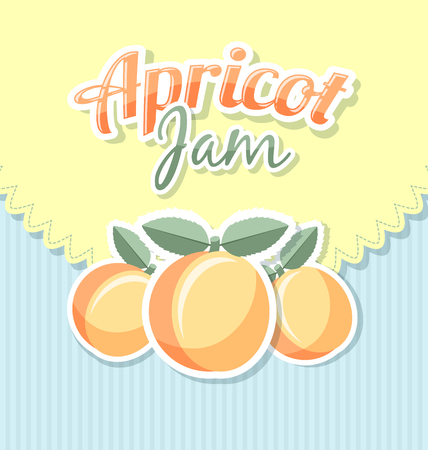 apricot jam: Retro apricot jam label on striped background