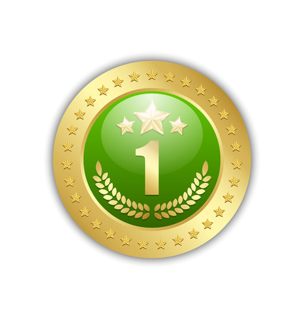 one people: Number one quality badge placed on white background