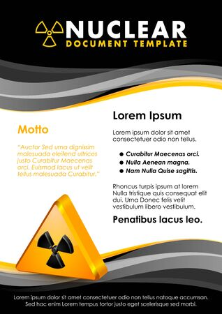 nuclear sign: Nuclear yellow and black document template with radiation sign