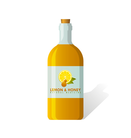 cough syrup: Lemon and honey natural cough medicine syrup in a bottle on white background
