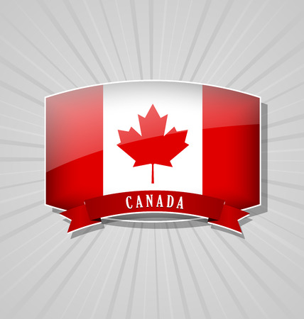 canadian icon: Canadian bulged badge or icon with ribbon on grey background