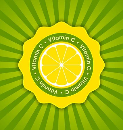 Vitamin C lemon badge in retro style on striped background Illustration