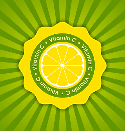 ascorbic: Vitamin C lemon badge in retro style on striped background Illustration