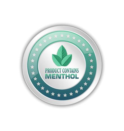 Product contains menthol badge isolated on white background Illustration