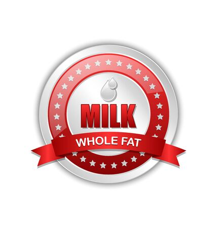 Whole fat milk icon or badge with ribbon on white background