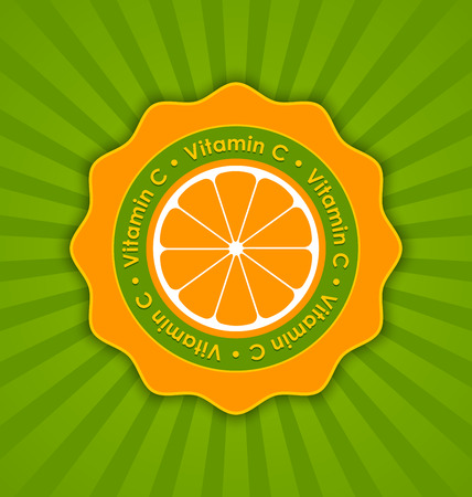 vitamin c: Vitamin C orange badge in retro style on striped background