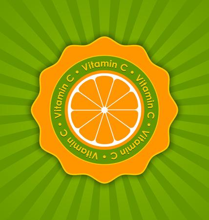 ascorbic: Vitamin C orange badge in retro style on striped background