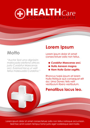 transfuse: Health care document template with three dimensional glossy cross icon