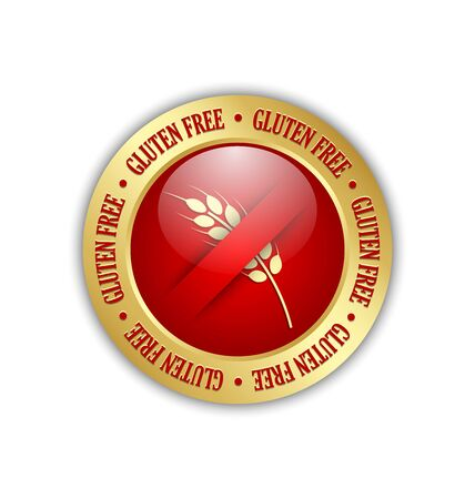 starch: Golden and red gluten free badge on white background Illustration