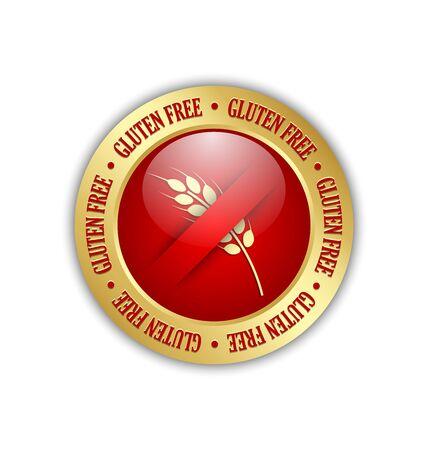 allergen: Golden and red gluten free badge on white background Illustration