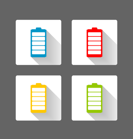 Colorful flat battery icons with long shadow effect Vettoriali