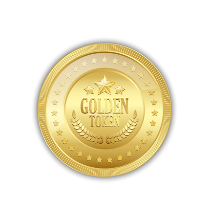 token: Golden token decorated with stars placed on white background