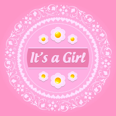 its a girl: Its a girl ornament on pink background Illustration
