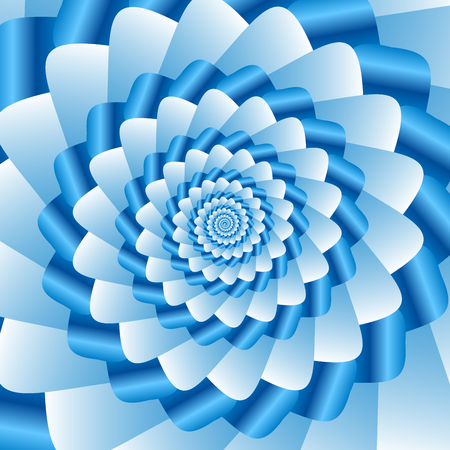 ribbed: Twisted and ribbed spiral in vivid blue color shades on background