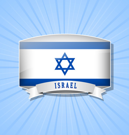 yiddish: Israeli bulged badge or icon with ribbon on pale blue background Illustration