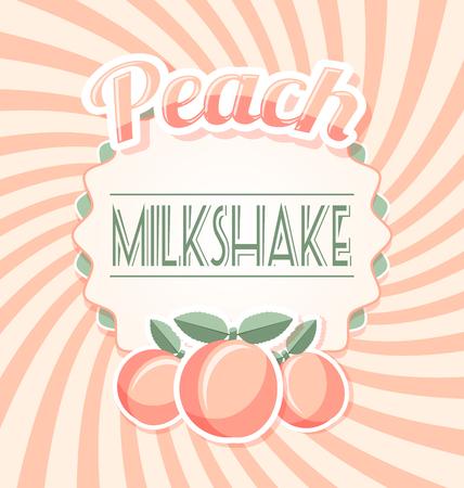 peach: Peach milkshake label in retro style on twisted background