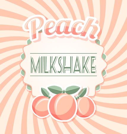 Peach milkshake label in retro style on twisted background