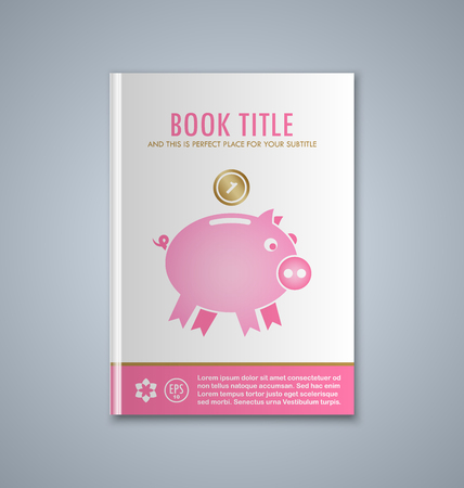 bank book: Brochure or book cover template on grey background