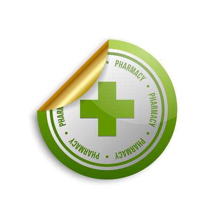 dispensary: Medical or pharmacy cross sticker on white background Illustration