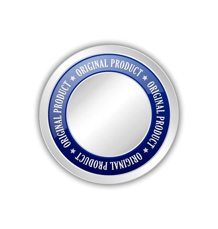 sellos: Vacía insignia producto original colocado en el fondo blanco