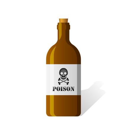 poison bottle: icono de la botella del veneno con el cr�neo y la bandera pirata etiqueta de aislados en fondo blanco Vectores