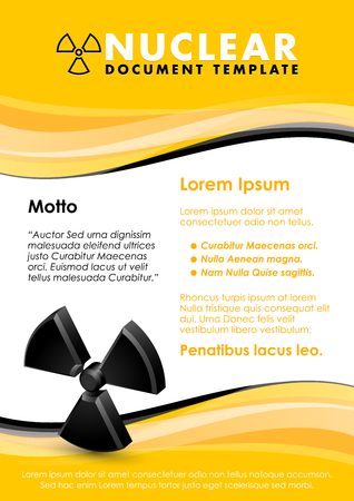 Nuclear yellow and black document template with radiation sign