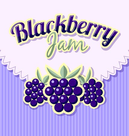 blackberry: Blackberry jam label with title on striped background