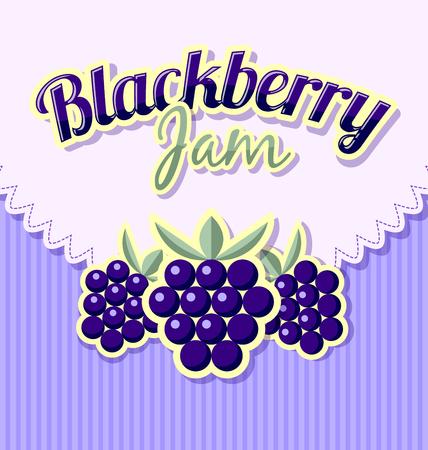 label design: Blackberry jam label with title on striped background