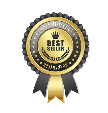 best background: Best seller rosette placed on white background