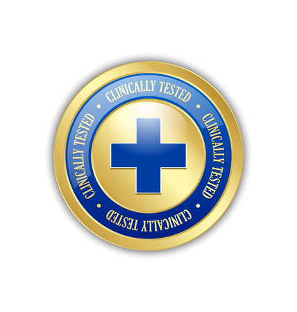 clinically: Golden clinically tested symbol with cross on white background