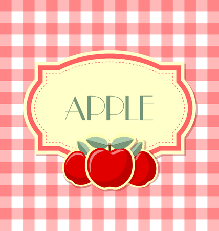 rind: Apple label in retro style on squared background