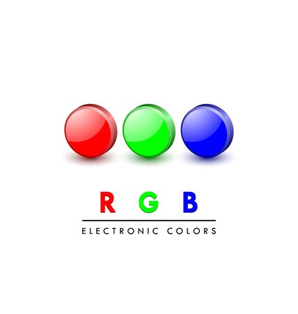 primary color: Three dimensional primary RGB digital color icons on white background