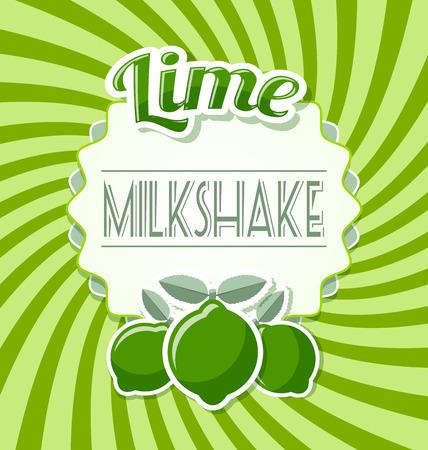 lime: Lime milkshake label in retro style on twisted background Illustration