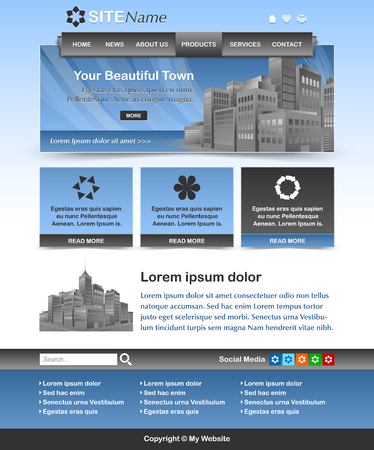 website layout: Easy customizable blue and dark grey website template layout