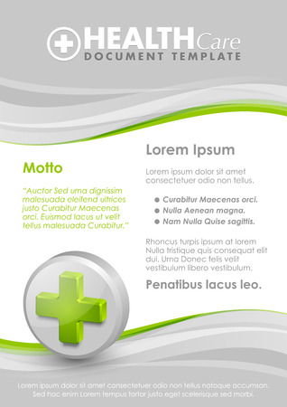 hematology: Health care document template with three dimensional glossy cross icon