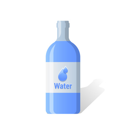 organic fluid: Blue glossy water bottle icon isolated on background