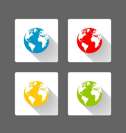 Conjunto de iconos planos Globo de la tierra con efecto de sombra larga sobre fondo gris oscuro