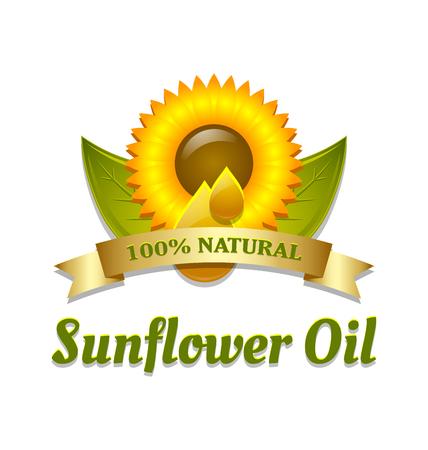 girasol: Símbolo de aceite de girasol se coloca en el fondo blanco