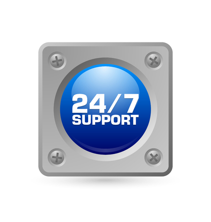 mounted: 247 support icon or button mounted by screws on background